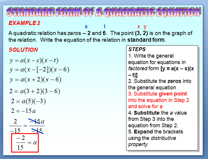 Chapter 37 Standard Form Of A Quadratic Equation