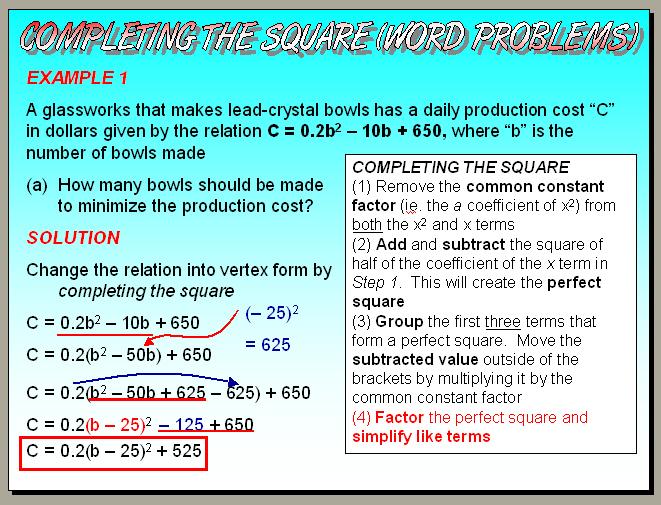 Gr 10 Academicap Principles Of Mathematics Unit 5 Quadratic