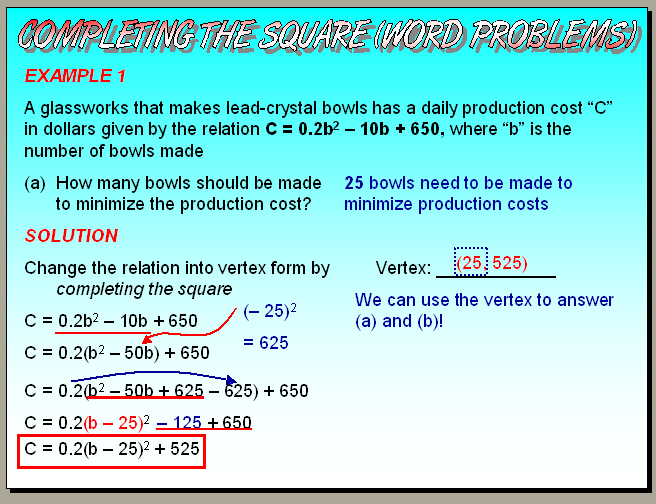 Chapter 4.6 (Part 2) - Completing the Square (Word Problems)