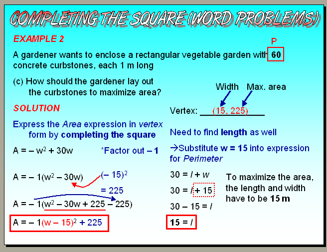 Chapter 46 Part 2 Completing The Square Word Problems