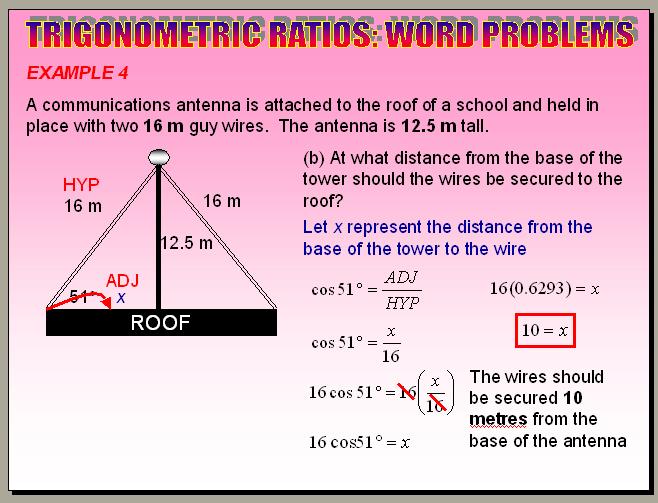 Chapter 5.8- Primary Trigonometric Ratios (Word Problems)
