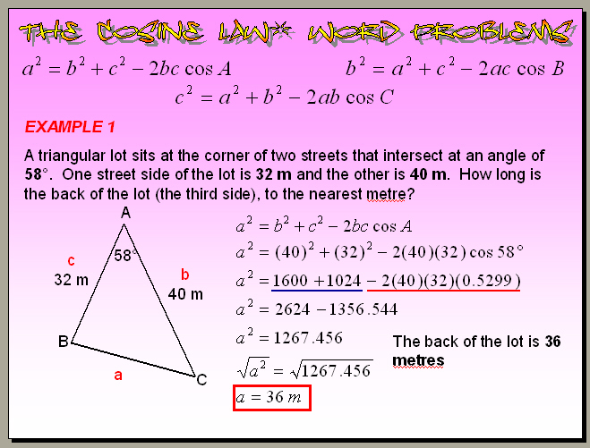 problem solving 8-5 law of sines and law of cosines